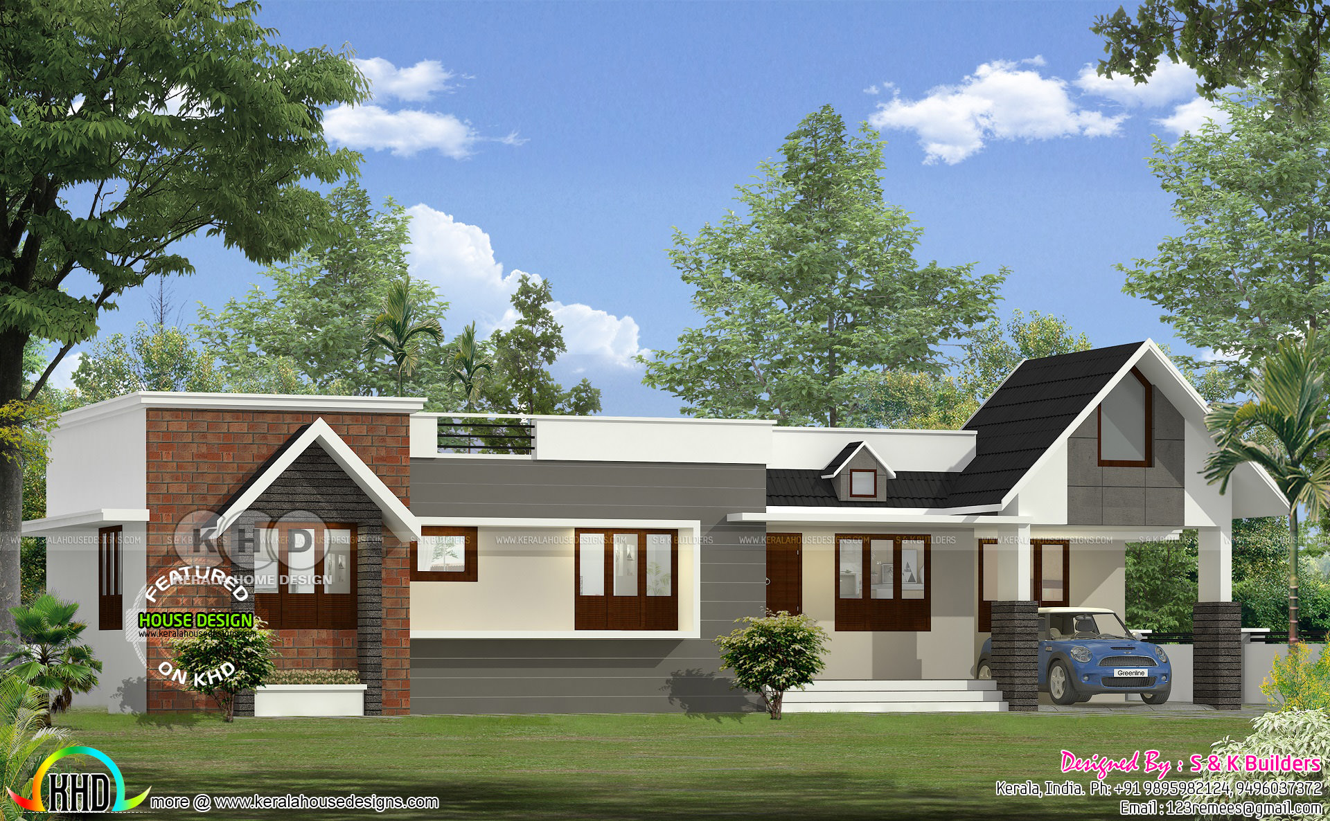 Contemporary Single Floor Home In 1350 Sq Ft: Different Looking Single Storied Home 1350 Sq-ft
