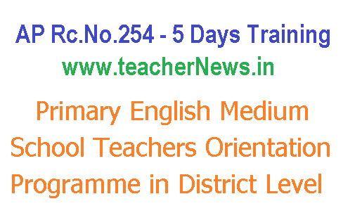 Primary English Medium School Teachers Orientation Training in District Level