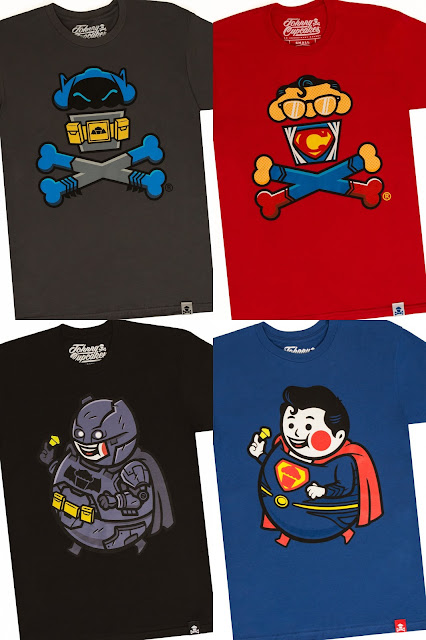 "Batman v Superman: Dawn of Justice T-Shirt Collection by Johnny Cupcakes - ""Cave Dweller Crossbones"", ""Phonebooth Crossbones"", ""Armored Big Kid"" & ""Shield Big Kid"""