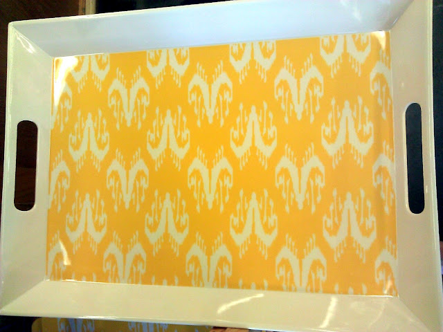 yellow white serving tray modern print
