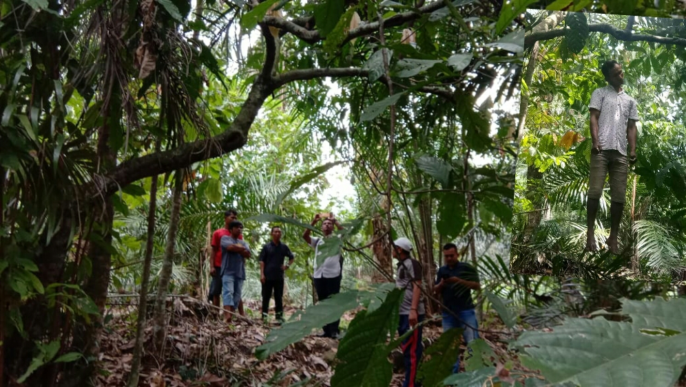 Lokasi penemuan jenazah korban yang tewas gantung diri