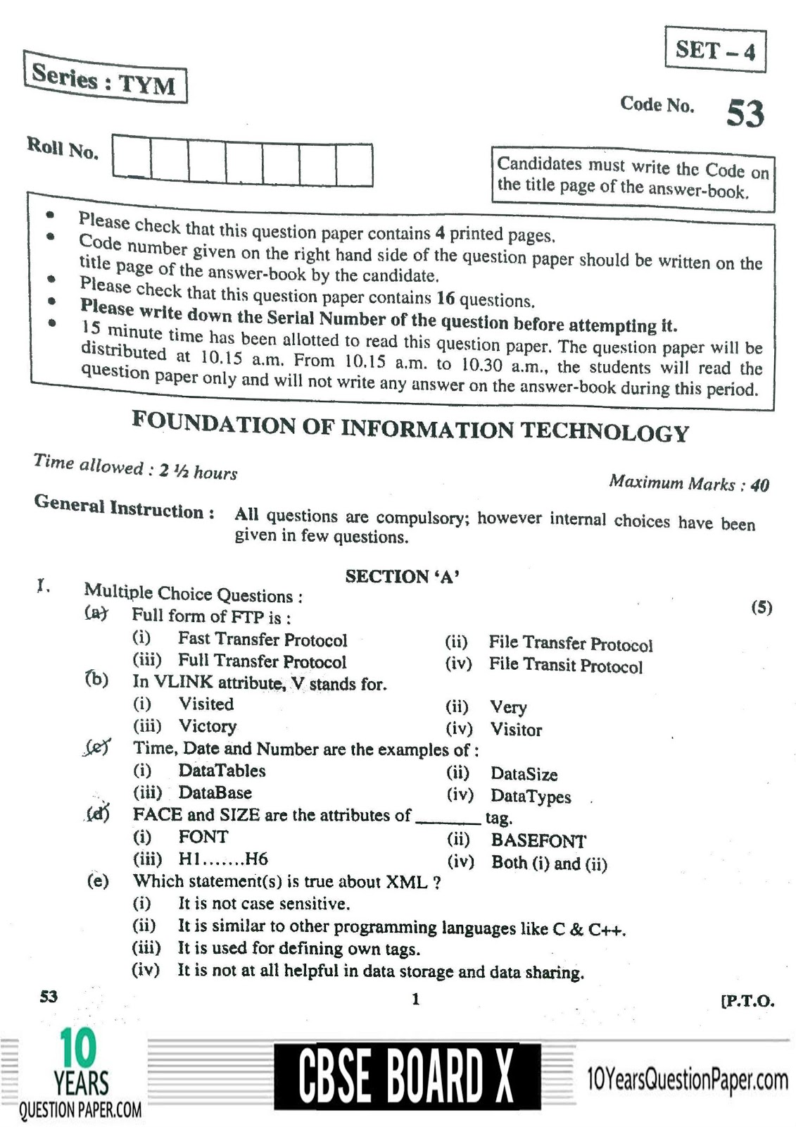 CBSE Board 2018 Information Technology IT Question paper Download PDF