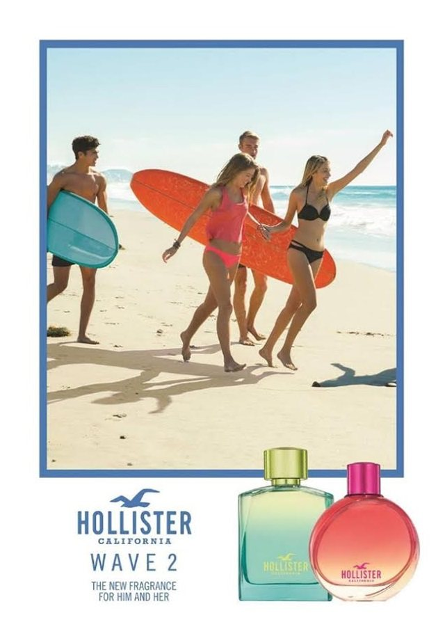 Reklama prasowa perfum HollisterWave 2 for Her i for Him