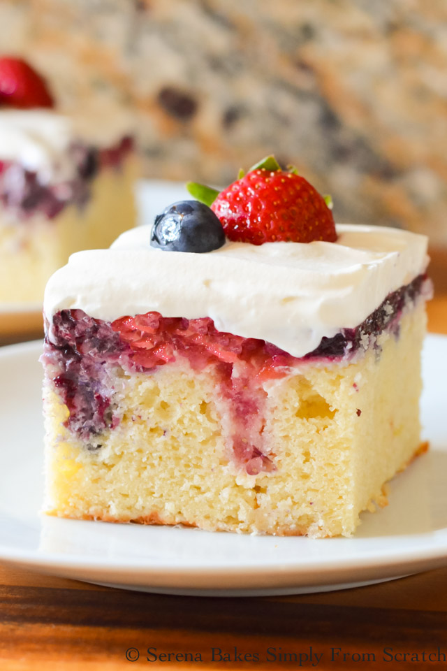 Red White and Blue Patriotic Poke Cake