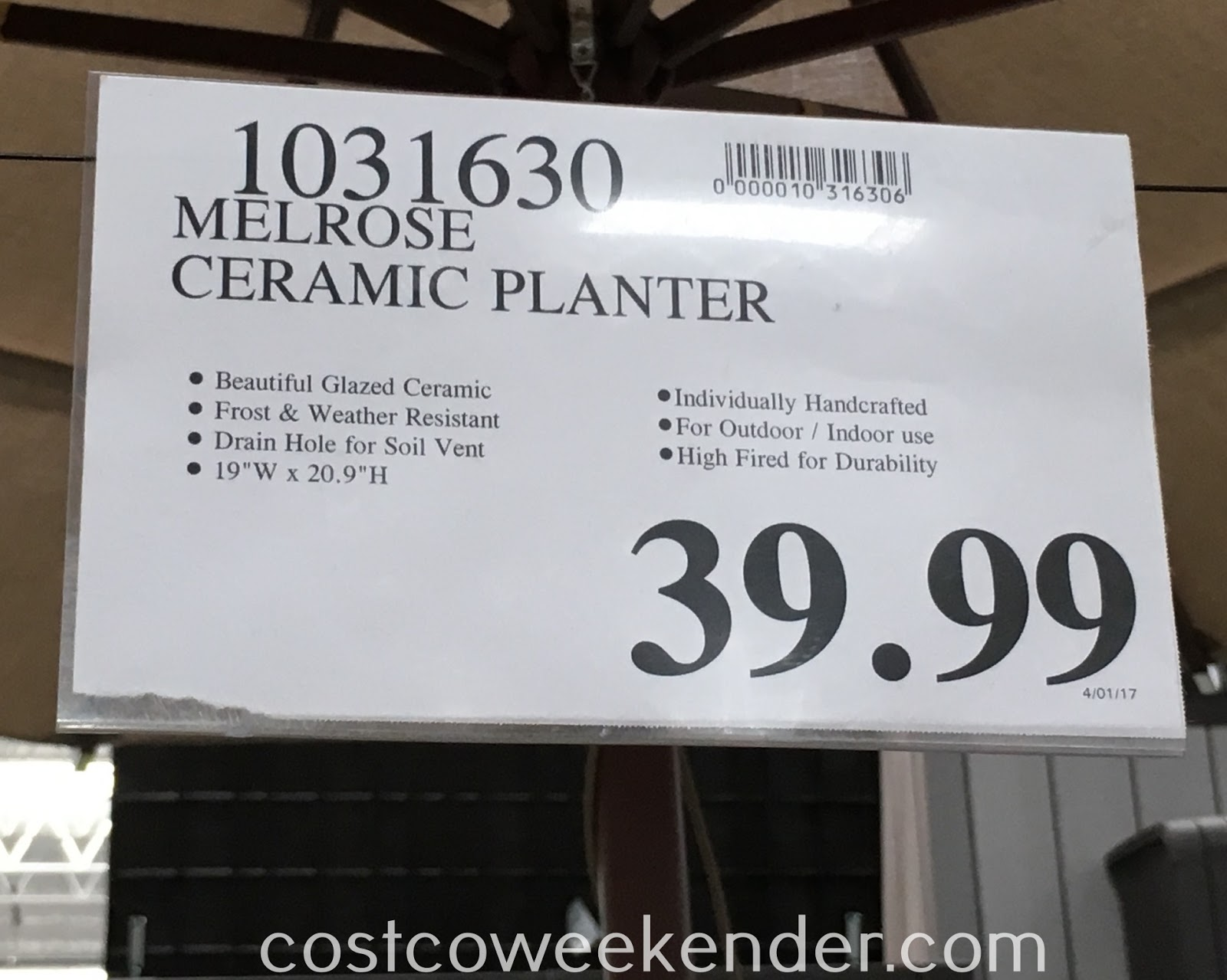 Costco 1031630 - Deal for the Melrose Ceramic Planter at Costco