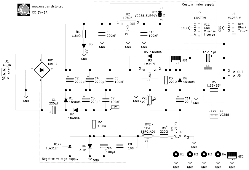 Schematic of LM317 versatile power supply