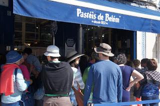 Lining up for Pasteis de Belem