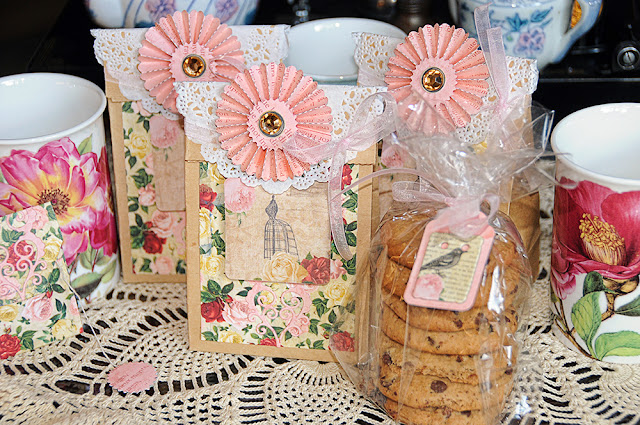 High tea gift bags by Lisa Gregory. Bo Bunny using the Juliet collection