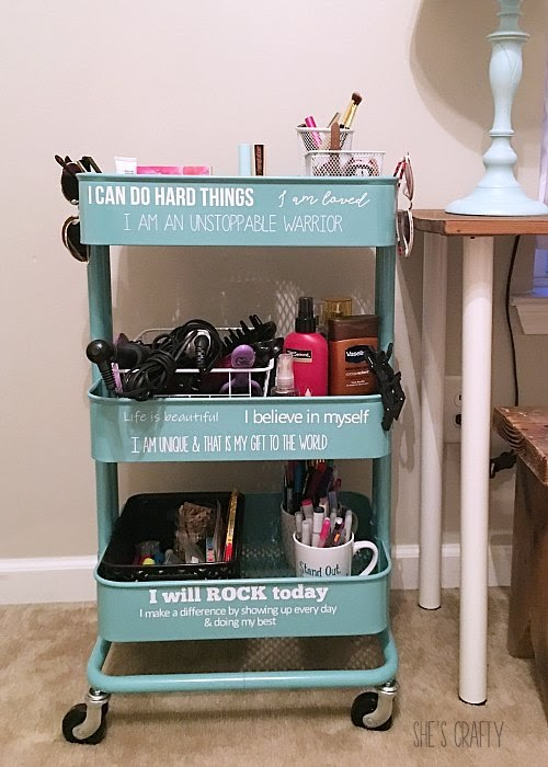Blue Raskog Rolling cart - teen room storage with daily affirmations