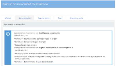 Relación de documentos de obligatoria presentación, según cada caso.