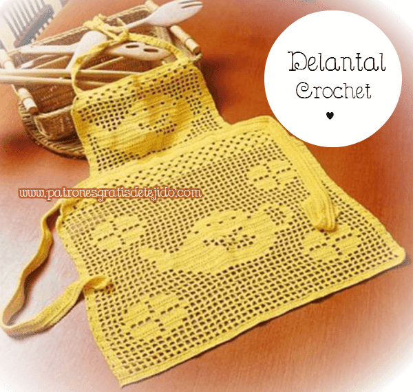 Delantal crochet motivo tecnica filet