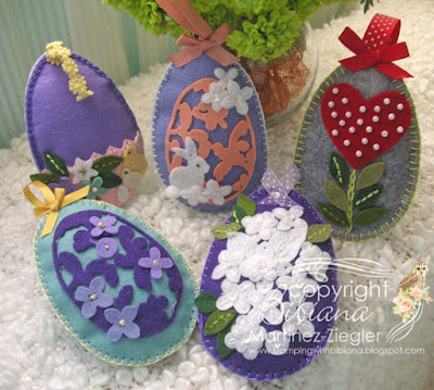 group of Felt eggs