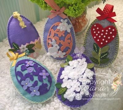 group of Felt eggs