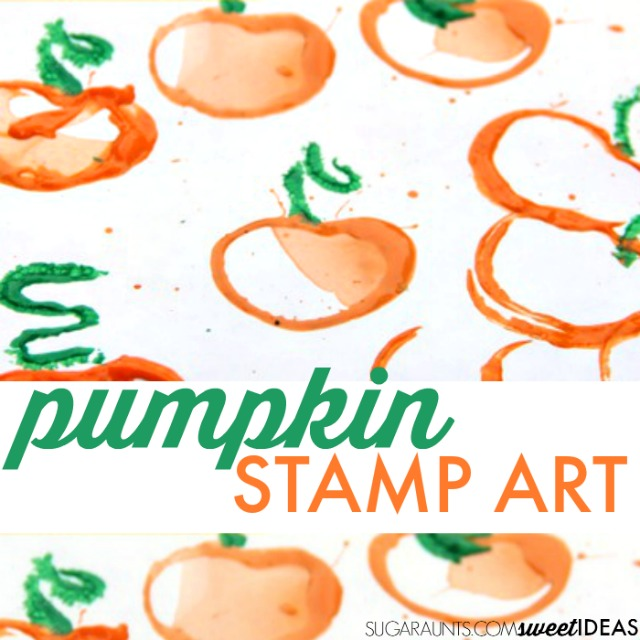 Pumpkin stamp art with toilet paper rolls to make halloween or fall themed art with kids.