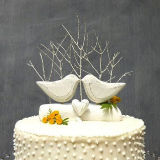 romantic bird wedding cake topper