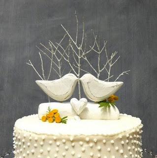 romantic bird wedding cake topper