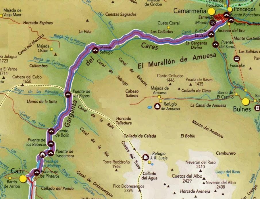 Ruta Del Cares Mapa.Peshij Turizm Tropy Pikov Evropy Zharkij Sever