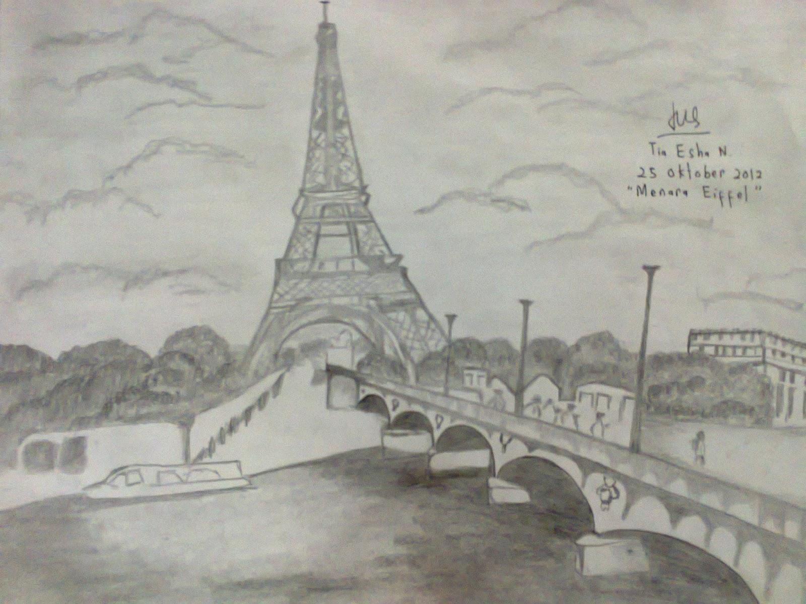 Gambar Sketsa Pemandangan Menara Eiffel Gambar Pemandangan