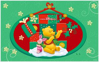 Navidad de Winnie the Pooh: Marcos, Tarjetas o Invitaciones para Descargar Gratis.