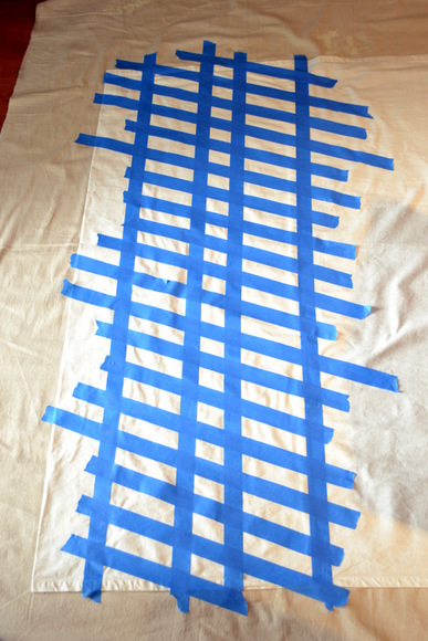 Painter's tape for herringbone pattern