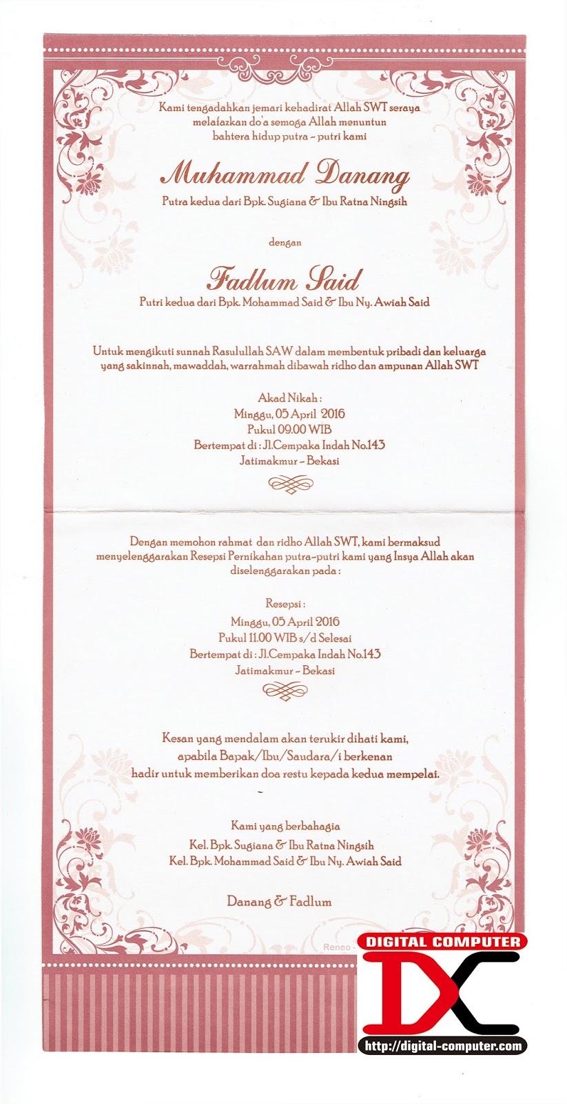 undangan pernikahan harga 2000 rupiah