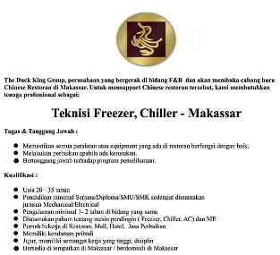 Butuh Teknisi Freezer Chiller di Chinese Restoran Makassar