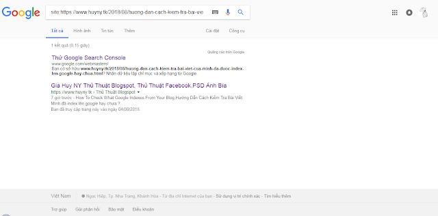 Hướng Dẫn Cách Kiểm Tra Bài Viết Mình đã index lên google hay chưa ?