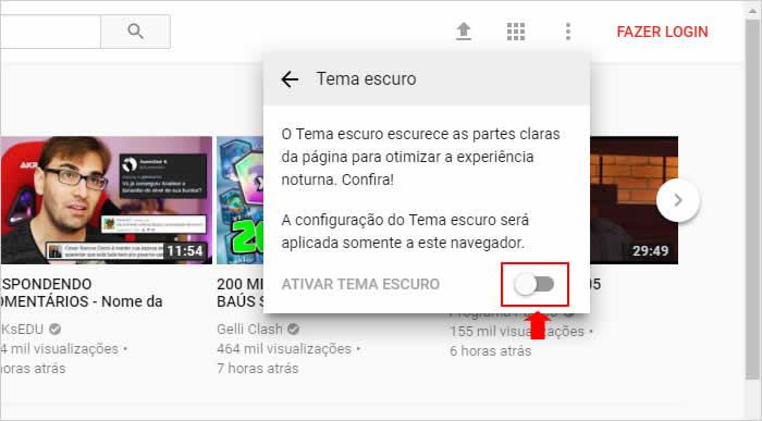 Ativando o modo noturno do novo layout do Youtube