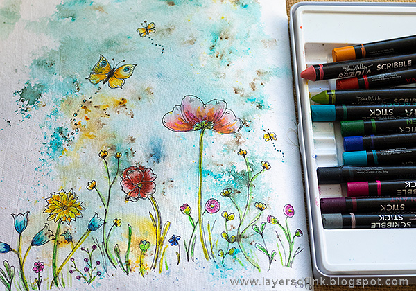 Layers of ink - Doodled Wildflower Garden Journal Page by Anna-Karin Evaldsson with Dina Wakley Scribble Sticks