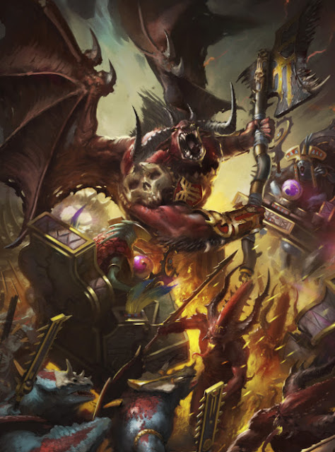 Warhammer age of sigmar bloodthirster khorne artwork battle ilustration fantasy 1