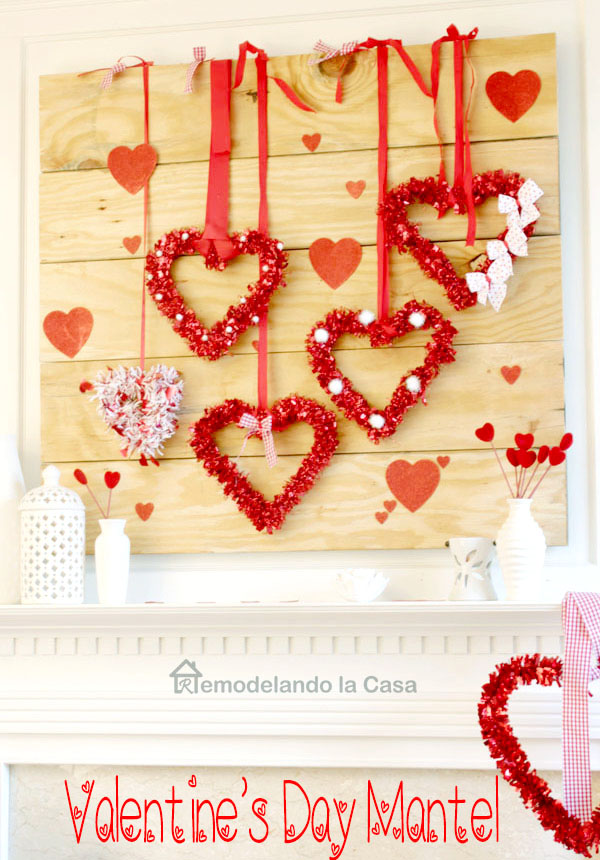 valentines decor, dollar tree holiday decor, hearts, family room