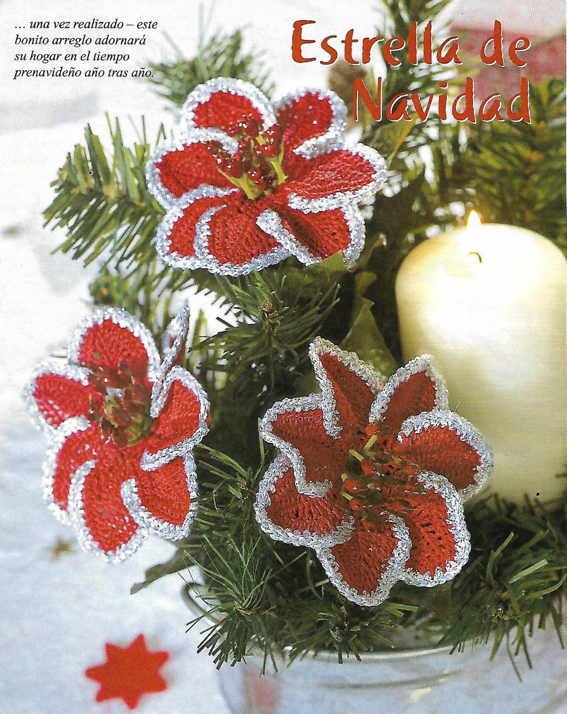 flor estrella Navidad con pétalos en espira, flores de navidad a crochet,