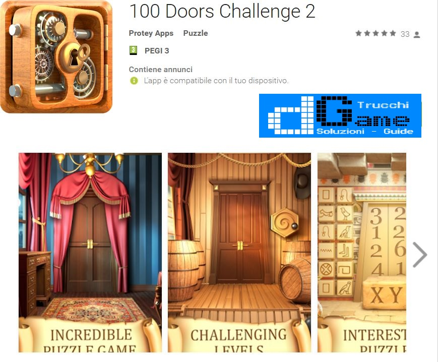 Soluzioni 100 Doors Challenge 2  di tutti i livelli | Walkthrough guide