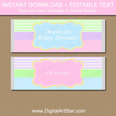 Pastel Candy bar wrappers for girl baby shower