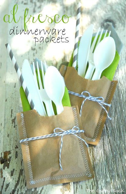 Al Fresco Dinnerware Picnic Packets with Baker's Twine - 10 Easy Party Ideas - #diy #party #birthdayparty #babyshower #partydecor #diydecor