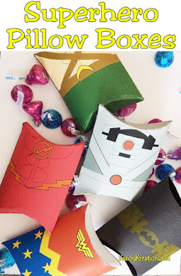 Celebrate your Superhero party with these party printable pillow boxes.  Pillow boxes come with Cyborg, Aquaman, Wonder Woman, Batman, and the Flash.  Get them before they are gone!