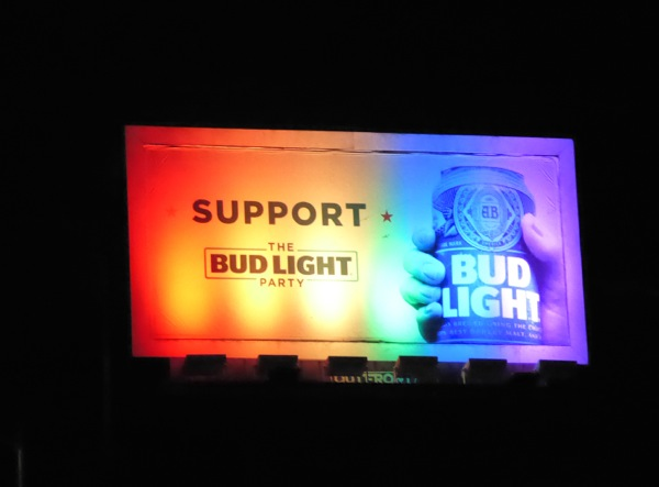 Support Bud Light Party billboard rainbow lights