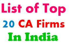 List of TOP 20 CA Firms in India with Contacts