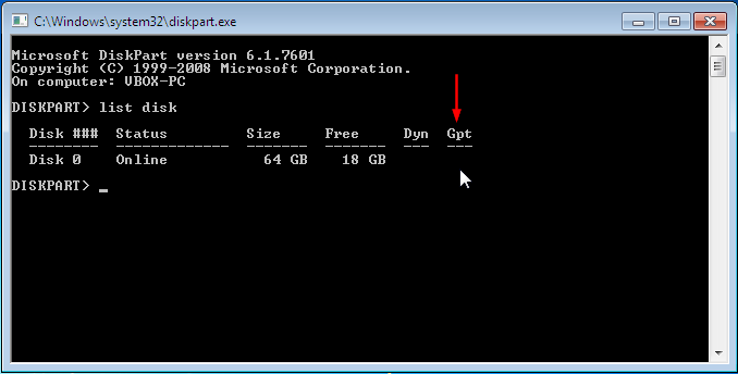 Check GPT/MBR on Windows using diskpart - screenshot of MBR disk
