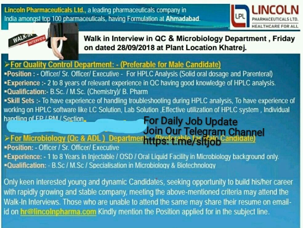 PRIVATE JOB GUJARAT: Lincoln Pharmaceutical Ltd Ahmedabad