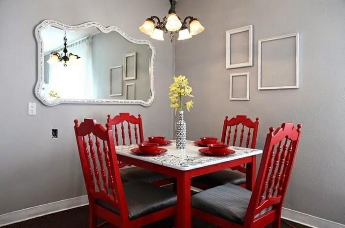 comedor decorado con rojo gris