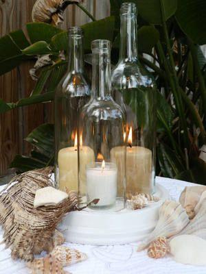 decoration table mariage thème bouteille en verre bougeoir
