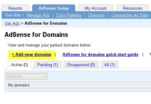 AdSense Parked Domain adsense parked