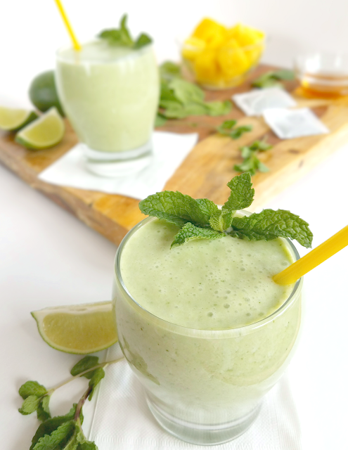 Green Tea Smoothie with Pineapple and Spinach by Taste Abounds