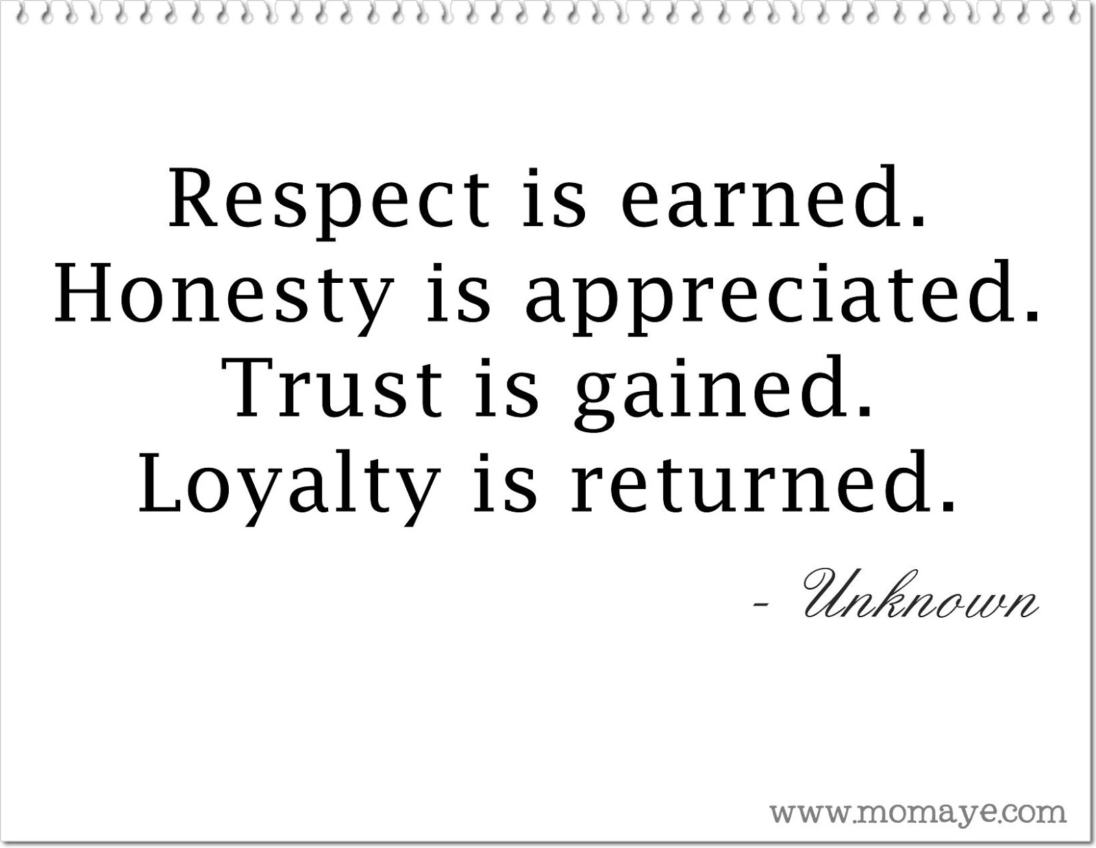 Daily Inspiration Respect Honesty Trust And Loyalty