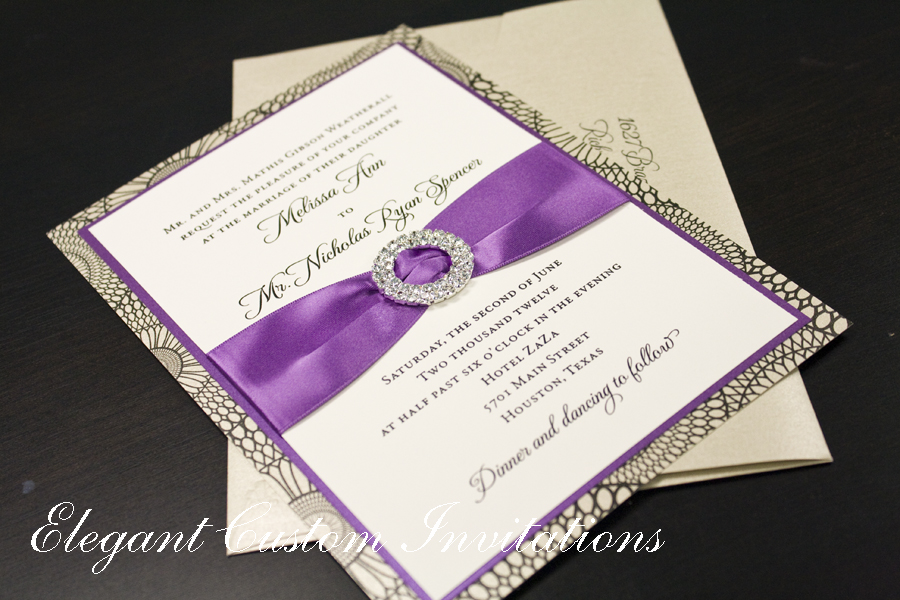 Wedding Invitations With Purple Ribbon: Wedding Invitations Houston