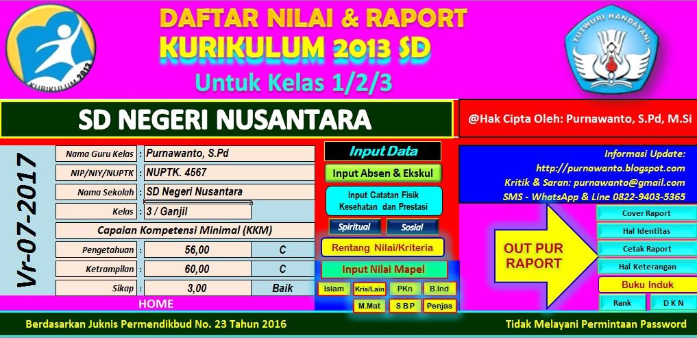 Aplikasi Nilai Raport Kurikulum 2013 Untuk SD Tahun 2017 ...