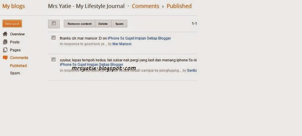 Komen Baharu Blogspot