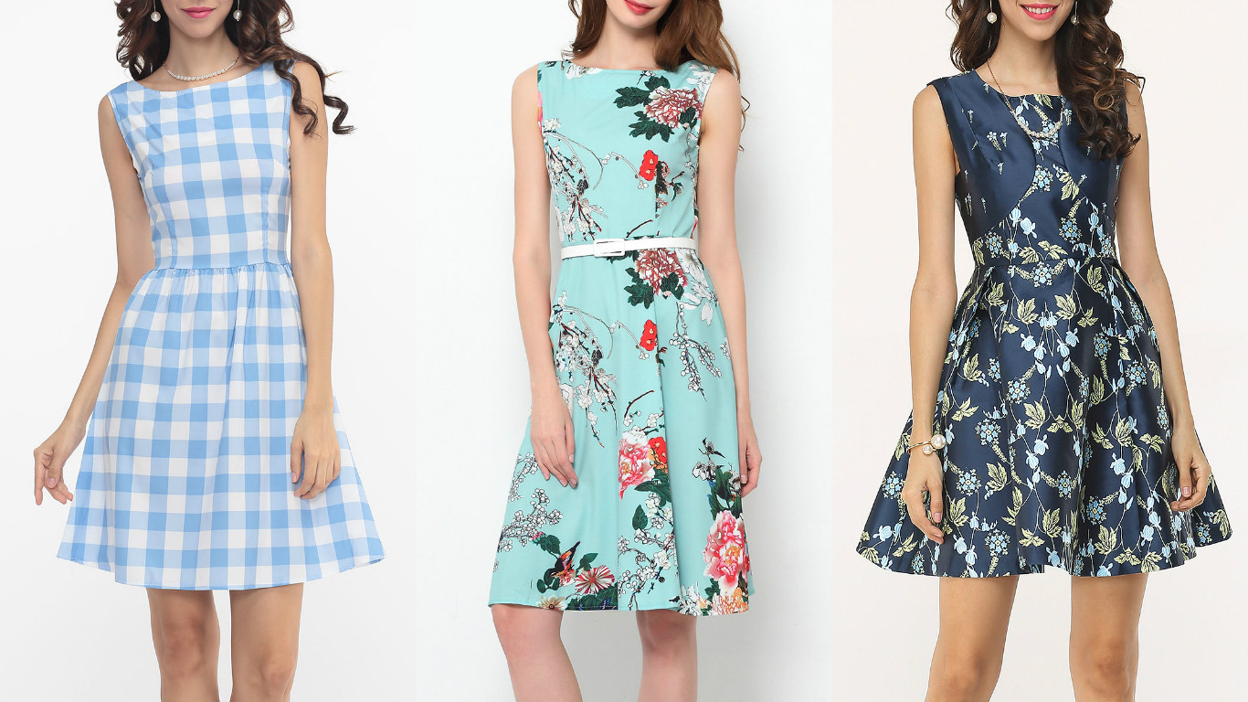 10246758280 Plaid Skater Dress Swing Floral Skater Dress Floral Round Neck Skater Dress