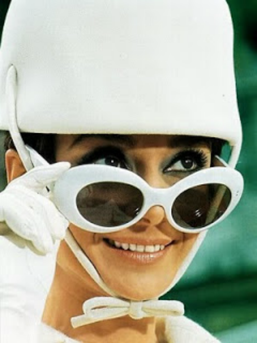 Audrey in helmet hat from how to steal a million